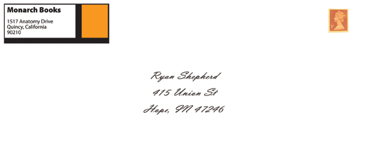 Ryan shepherd monarch books for Monarch envelope template